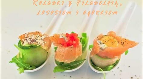Roladki z serkiem filadelfia, łososiem i ogórkiem
