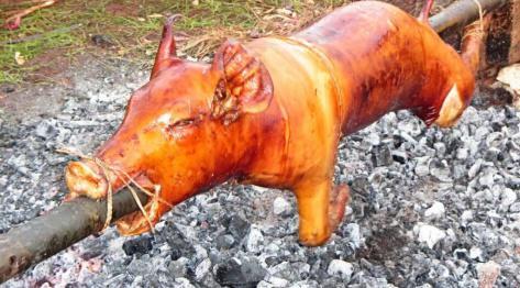 Bantayan, Filipiny –  lechon emperador czyli pijana świnia. Wariacja na temat lokalnego przysmaku lechon baboy cebuano