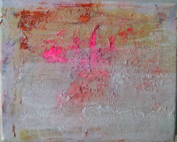 2 Sunset in Madridejos acrylic, watercolors, rubber cement, salt, fire, water from the ocean on canvas