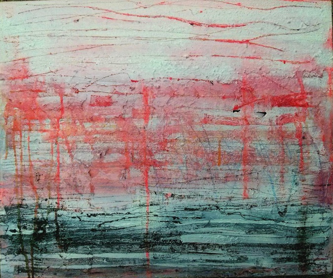 5 Horizontal Red, Vertical Red Sunset In Madridejos acrylic, watercolor, rubber cement, salt, fire, water from the ocean on canvas